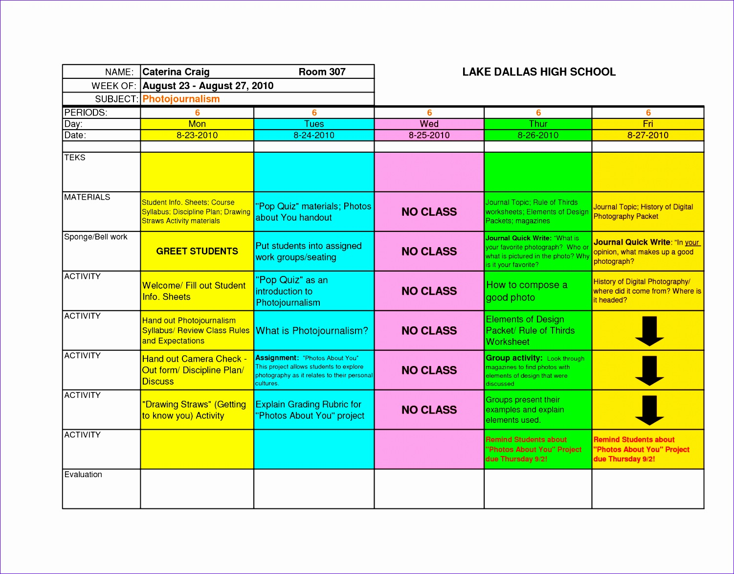 post excel lesson plan template