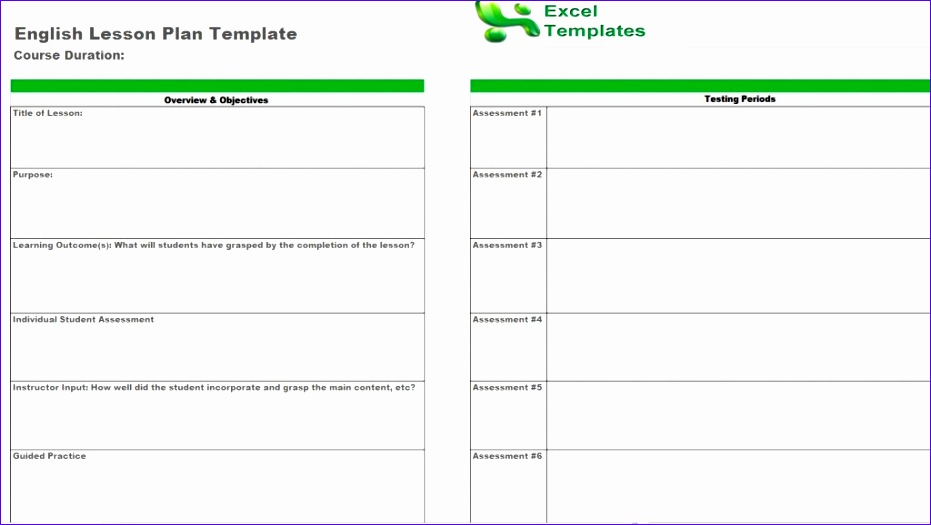 Lesson Plan Template Excel  Exceltemplates  Exceltemplates