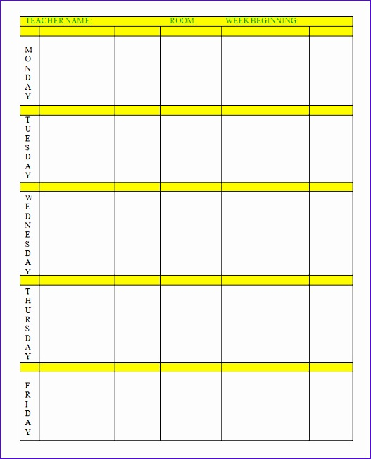 weekly lesson plan template 527651