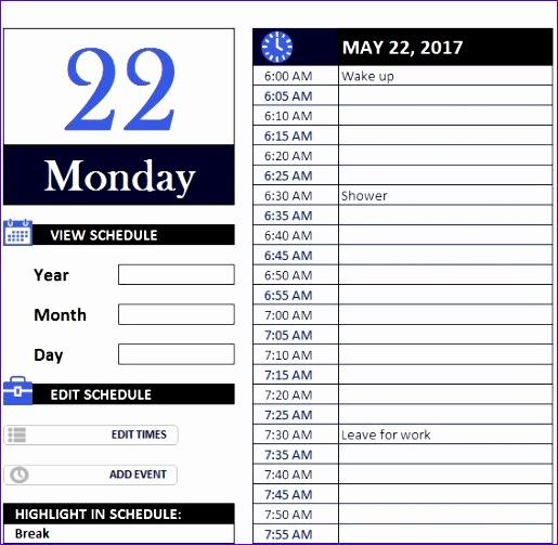 daily work schedule 515503