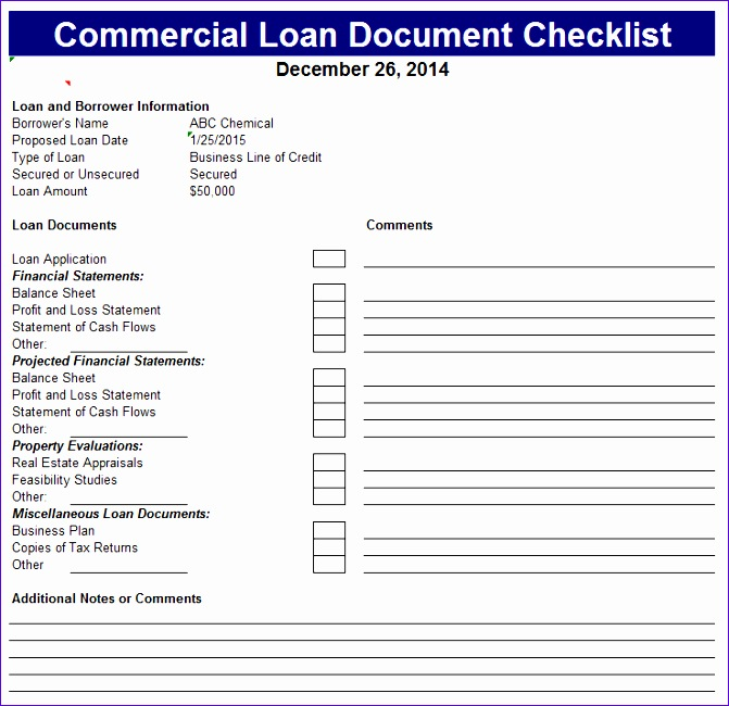 Loan Amortization Excel Template Tvjf3 Inspirational Mercial Loan Document Checklist 738707