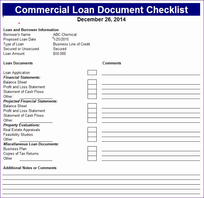 mercial loan document checklist