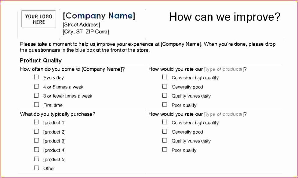 excel survey template excel questionnaire template 976582