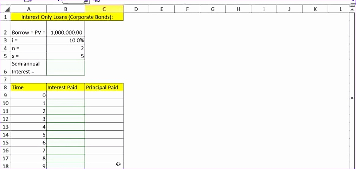create interest only loan schedule microsoft excel 1164552