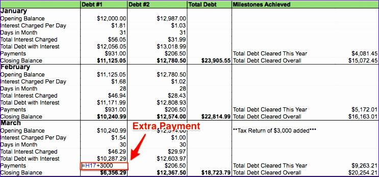 my debt repayment spreadsheet
