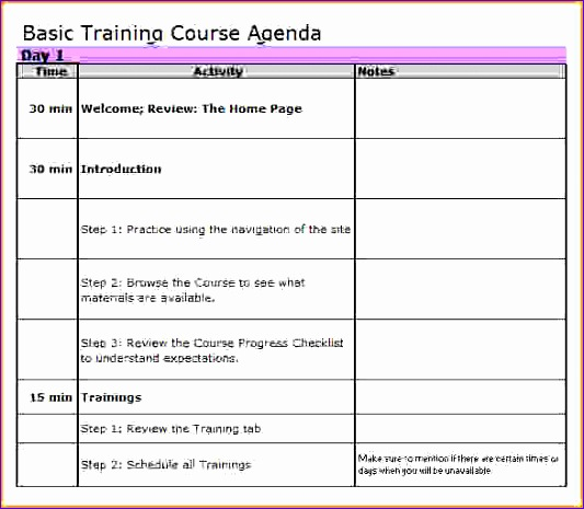 training agenda template training agenda template excel 533465
