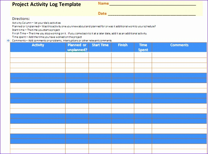 project activity log excel template 702519