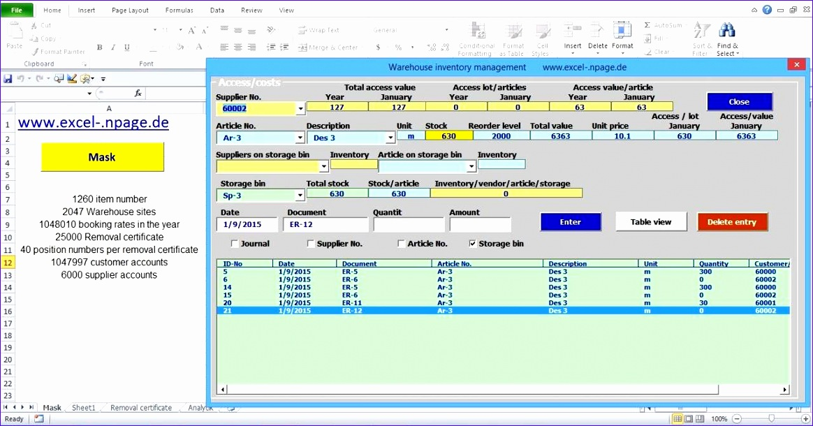 warehouse management program based on an excel file with integrated supplier and customer databa 1164610