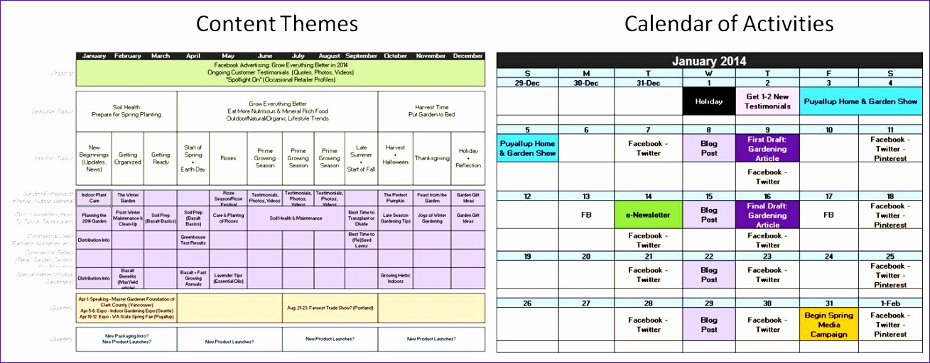 Marketing Calendar Template Excel  Exceltemplates  Exceltemplates