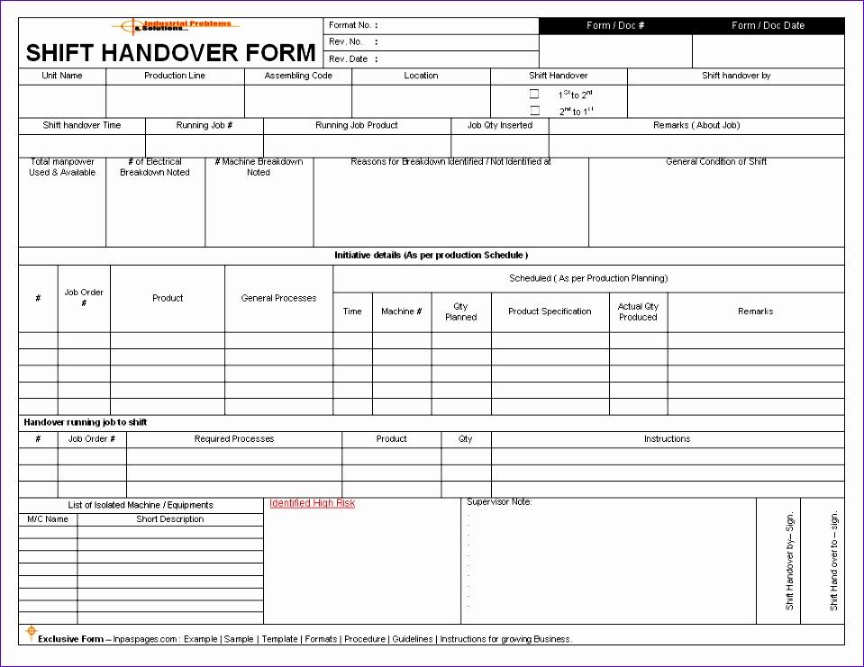 shift handover template excel 806 959741