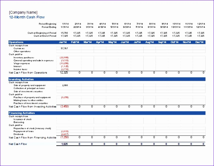 statement of cash flows template 733571