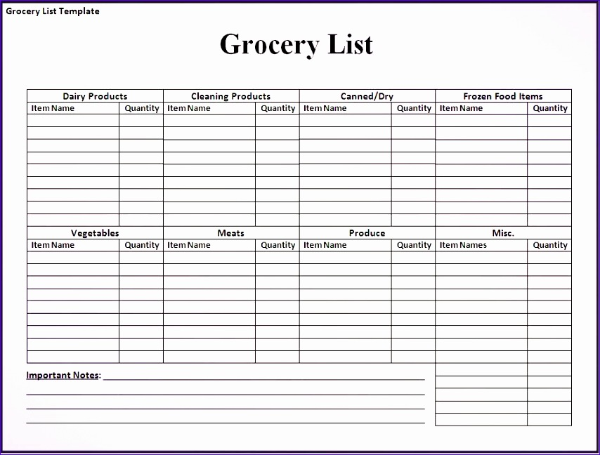 grocery list template word 124