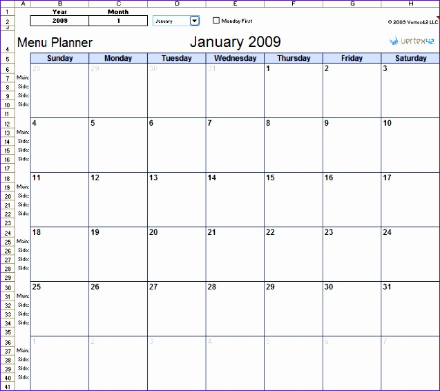 meal planning calendars in excel 637566