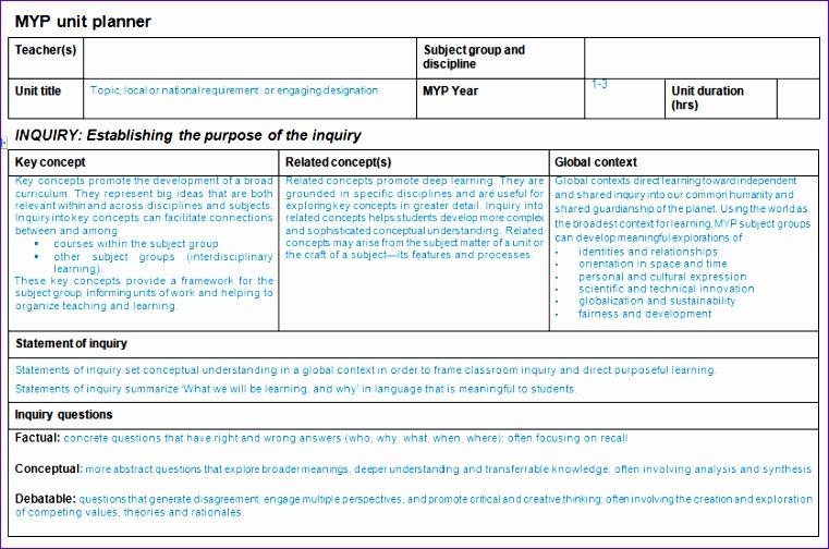 teacher unit planner template 761504