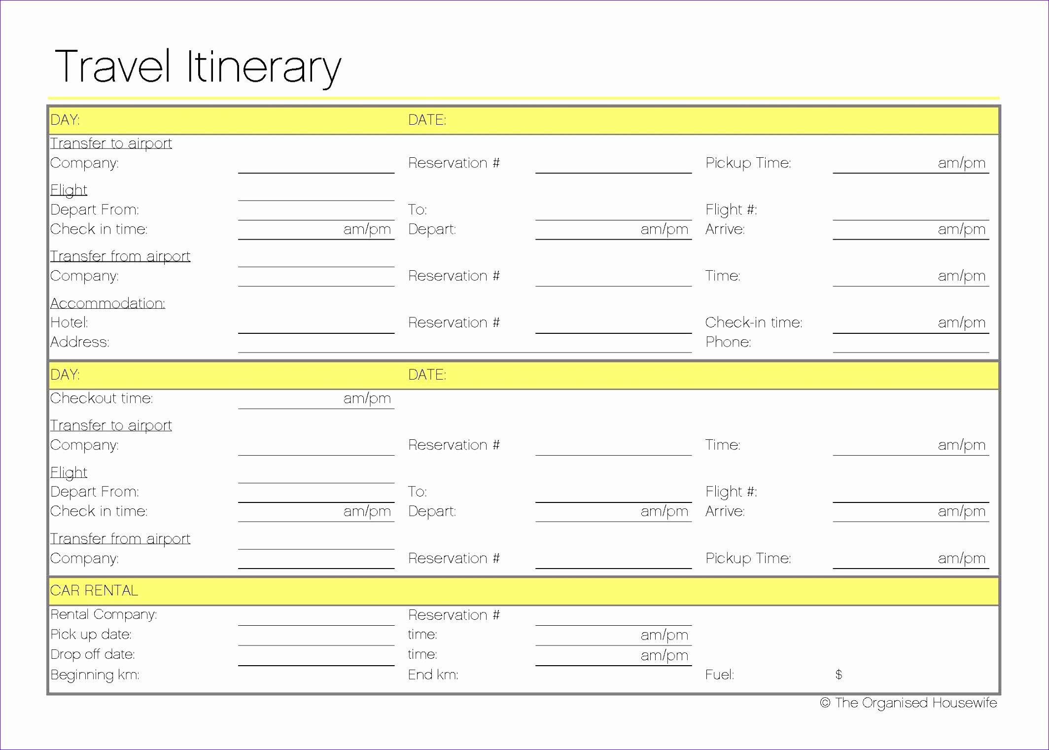 free printable travel itinerary