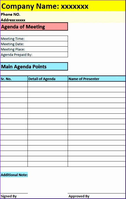 agenda of meeting report template 436688