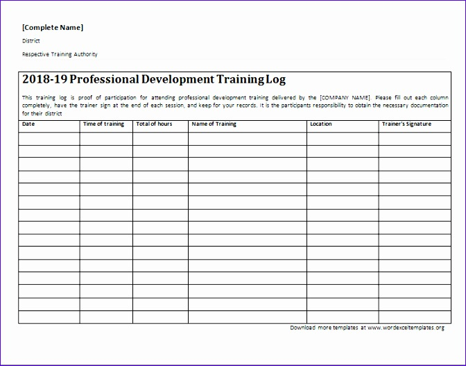 professional development training log 672527