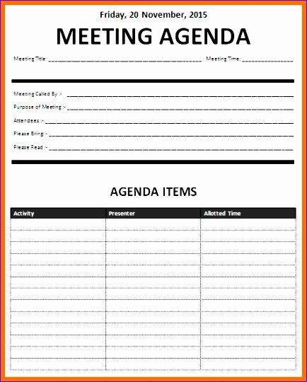 5 meeting agenda template excel 434540