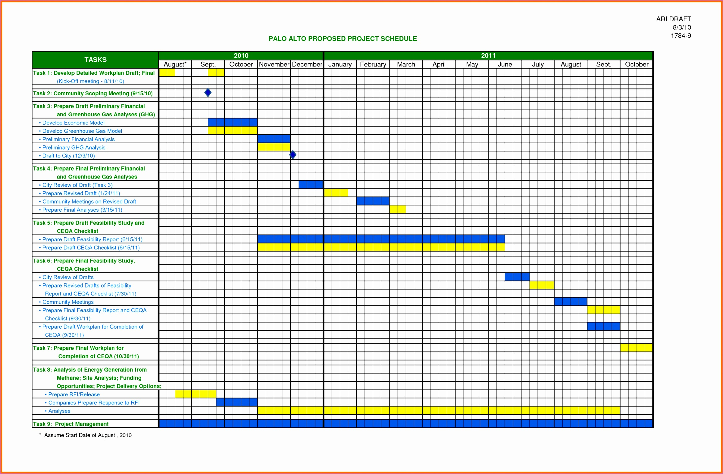 6 project schedule template excel