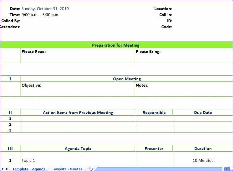 minutes of meeting template excel 746546