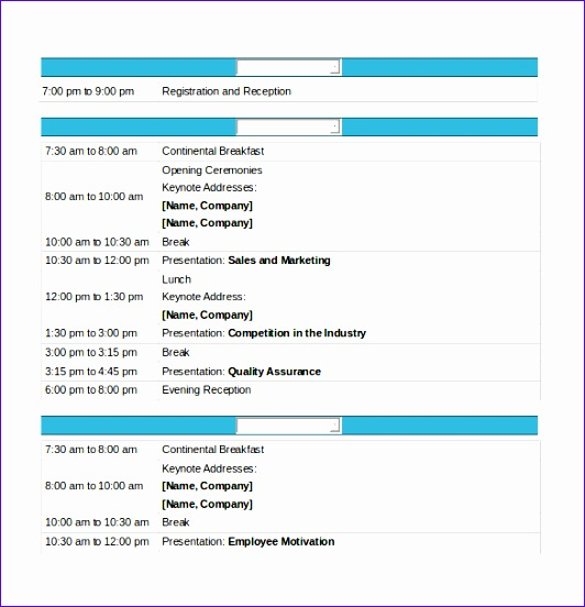 sample conference schedule template example