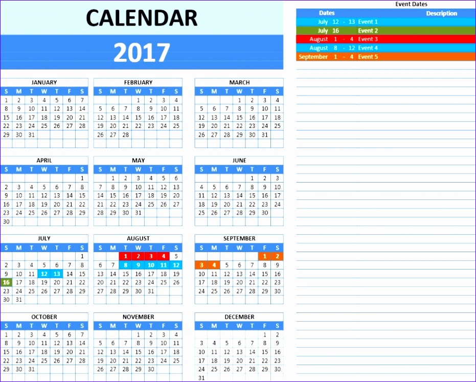 2017 calendar template 931747