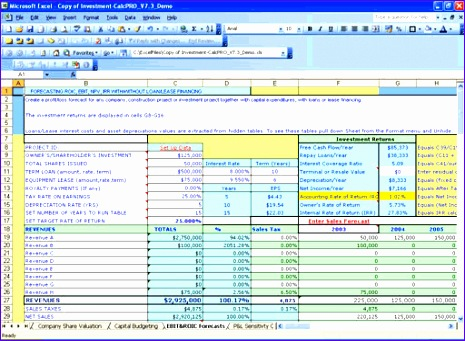 investment calc npv irr analysis