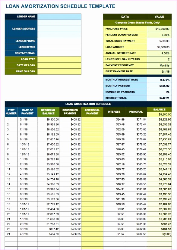 free amortization schedule templates variety loan types 587830