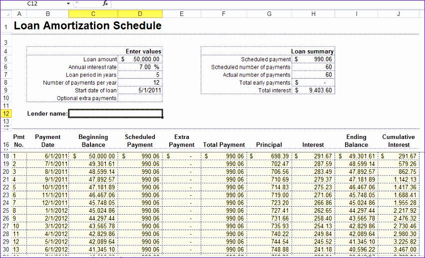 8 microsoft excel amortization schedule template for Amortization formula excel template