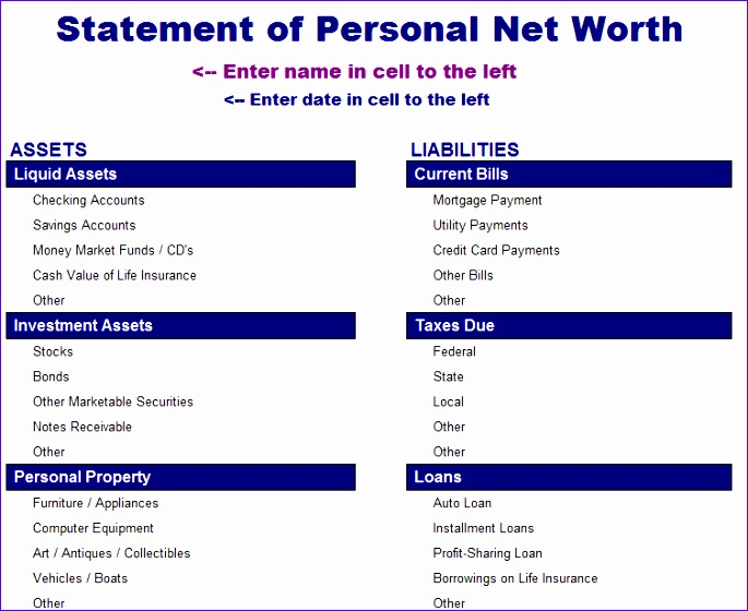 statement of net worth 178