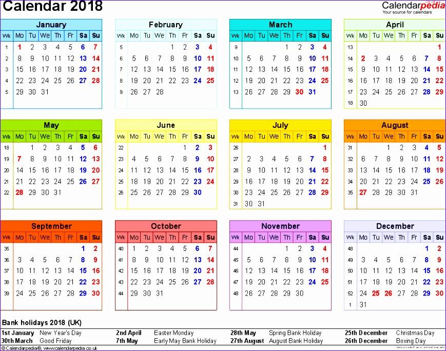 weekly calendar 2018 excel 1737 869684