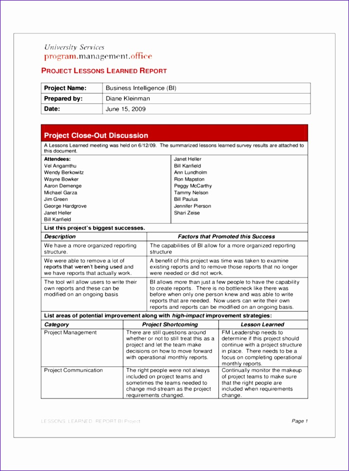 project lessons learned template 698942
