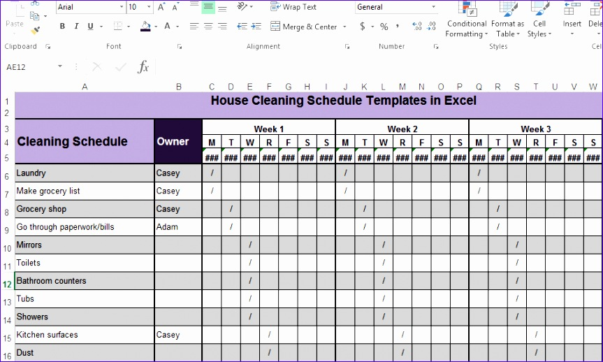 6 microsoft excel employee schedule template for Domestic cleaning schedule template