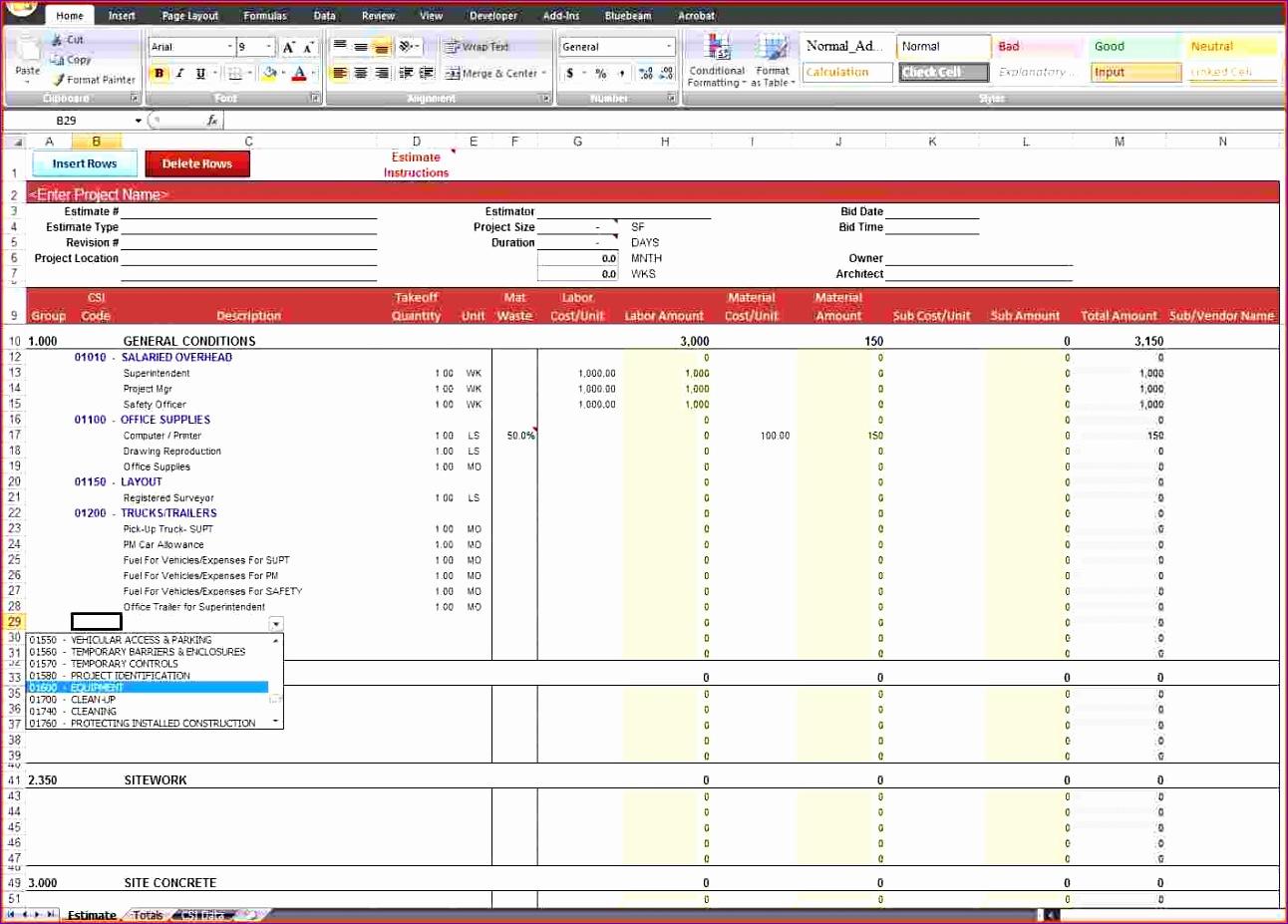excel estimate template 1292927