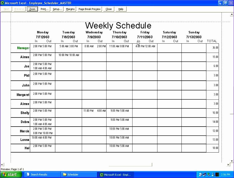 employee schedule template 2