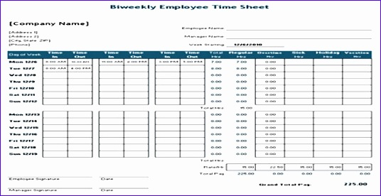 biweekly time sheet for general contractor