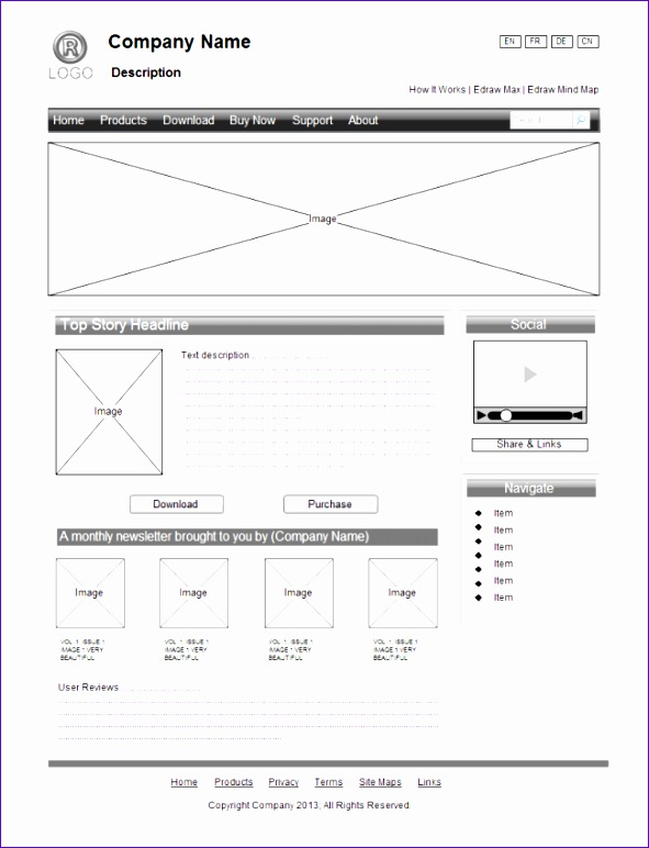website wirefram examples