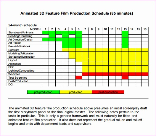 shooting schedule template 527460