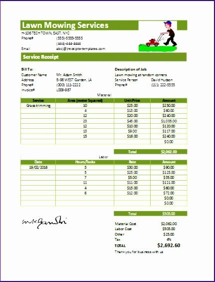 lawn mowing receipt 431565