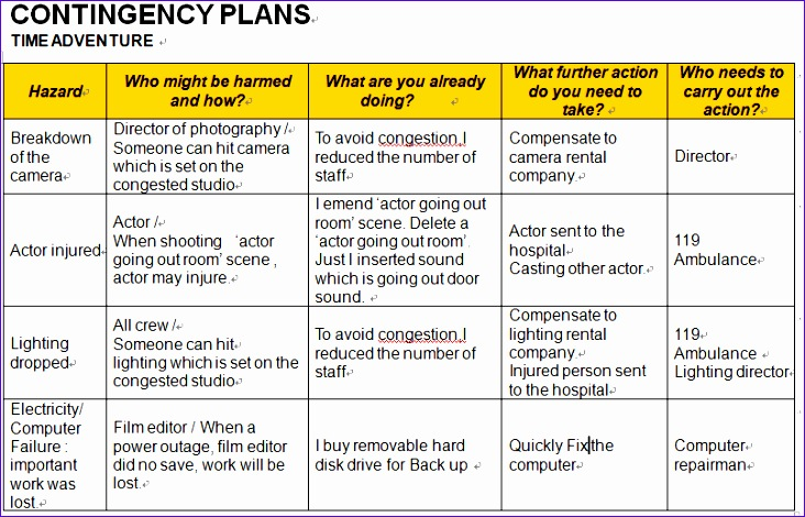 business contingency plan sample 732470