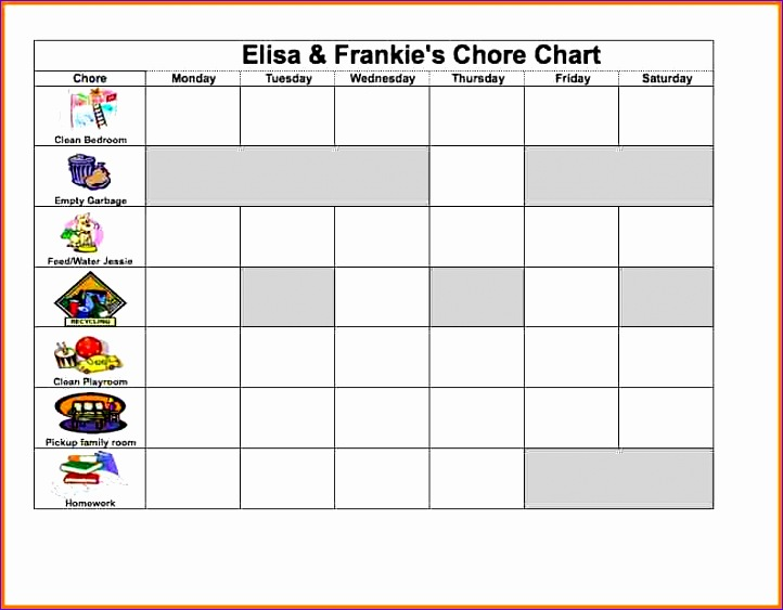 excel chore chart 722563