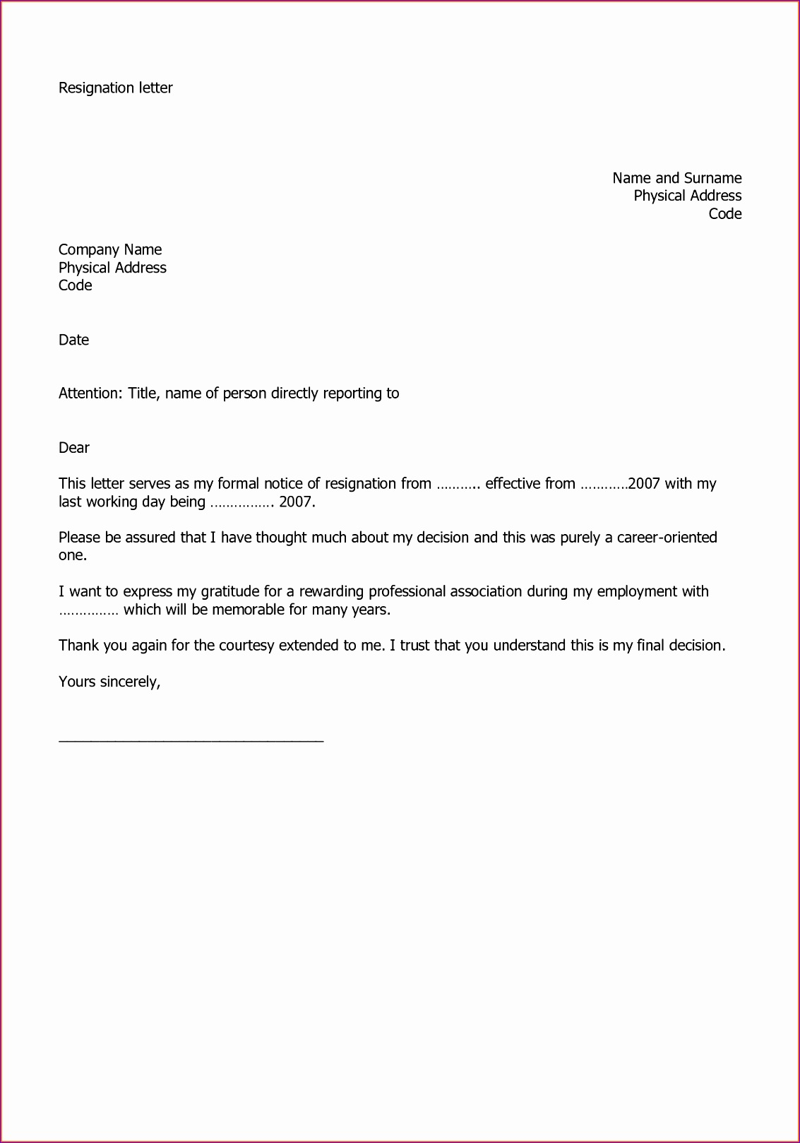 10 resignation letter sample