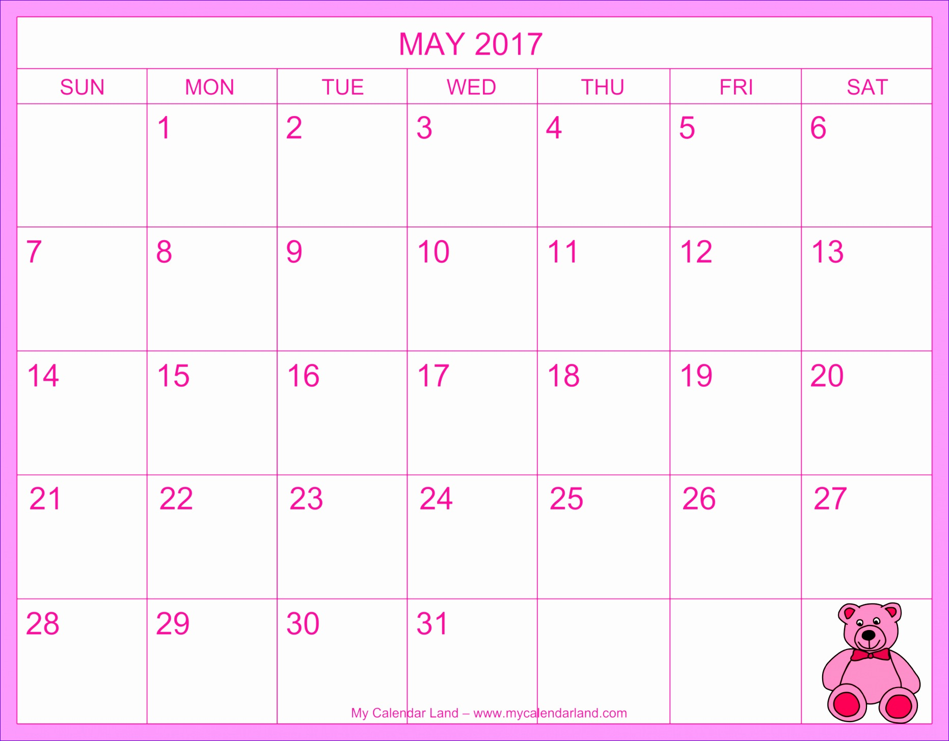calendar may 2017 pink 18631456