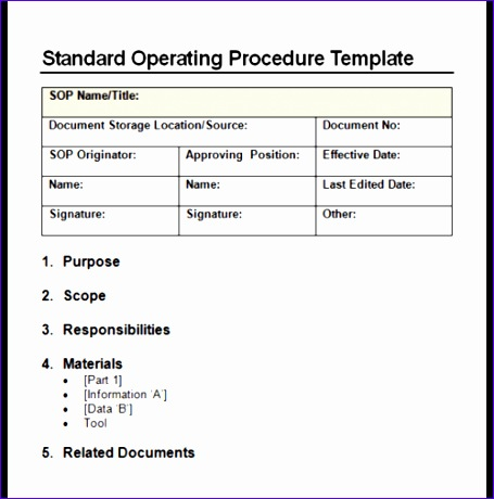 Standard Operating Procedure Format Free Download Idealstalist