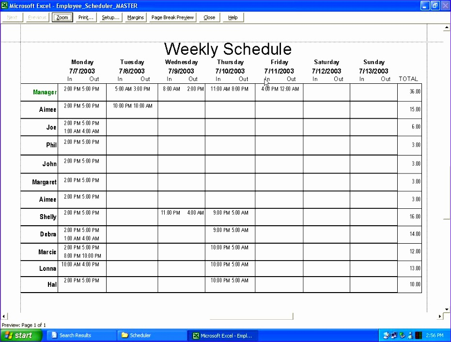 employee schedule template 2 931706