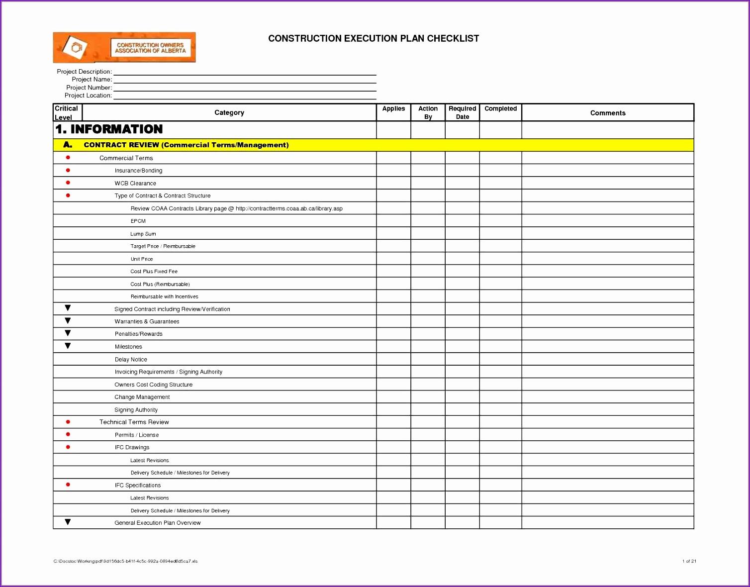 Excel Template Checklist