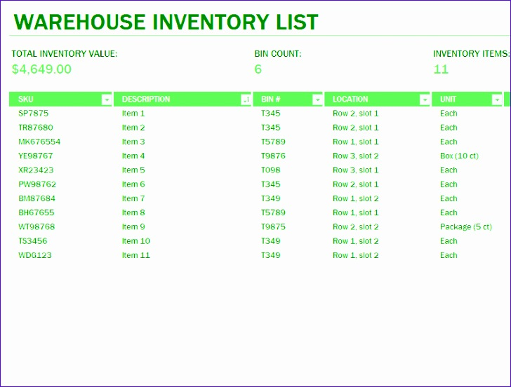 warehouse inventory excel spreadsheet sample 1237 728552