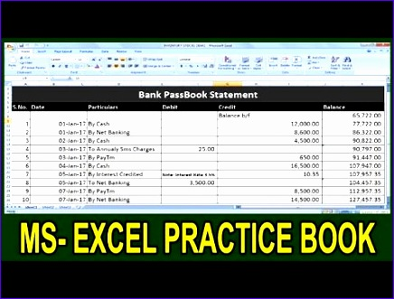 bank transaction statement in ms excel tutorial in hindi microsoft office excel practice book 436331