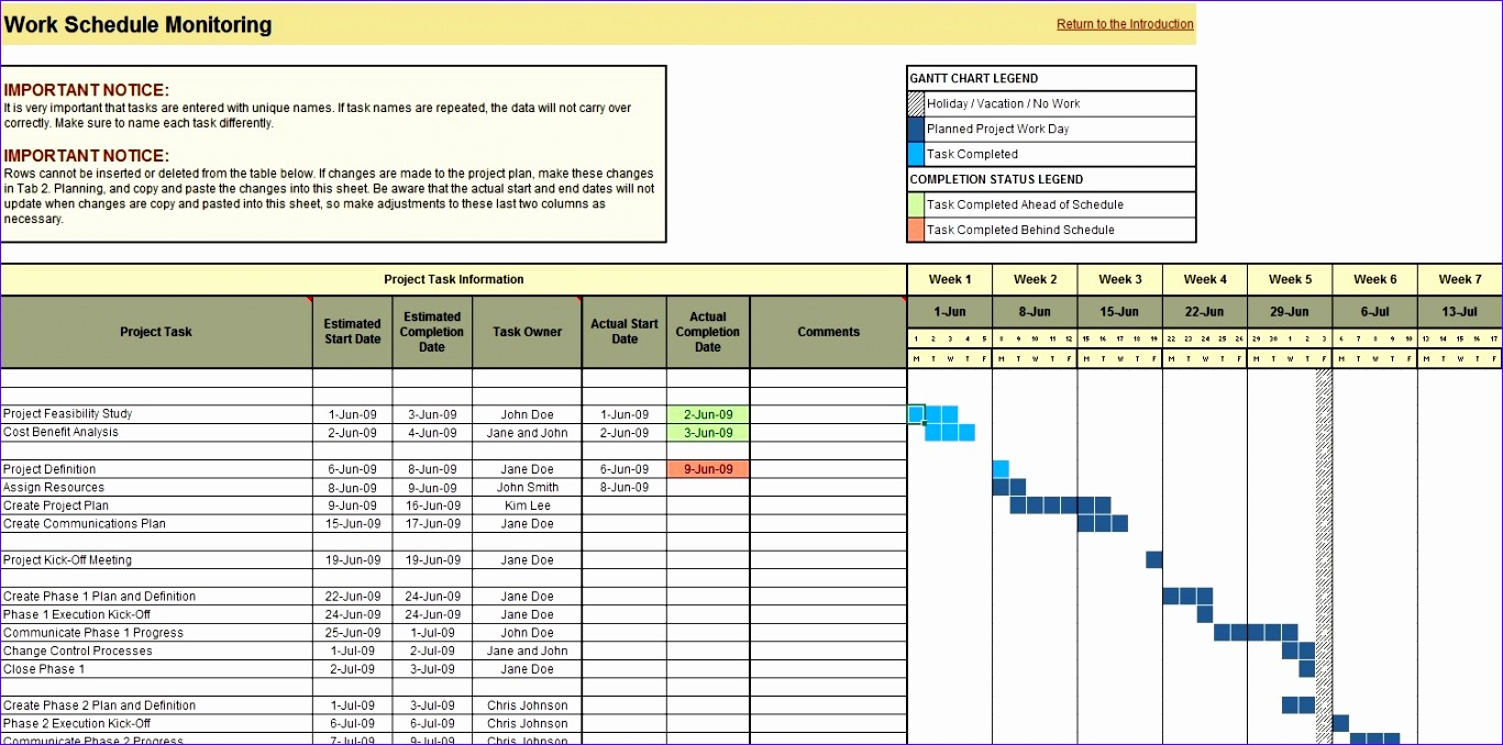 project planning scheduling and monitoring excel tool