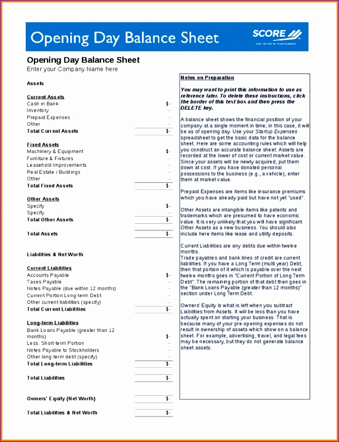 opening day balance sheet 671875